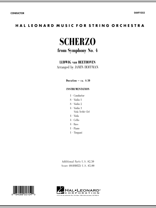 Scherzo from Symphony No. 4 (COMPLETE) sheet music for orchestra by Jamin Hoffman