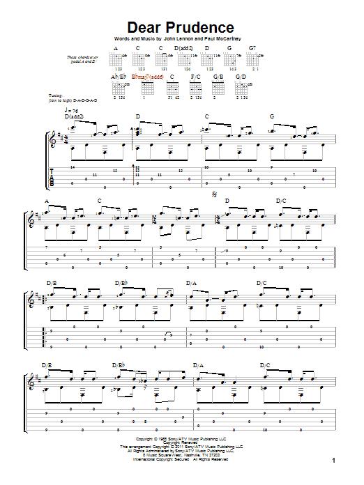 Dear Prudence sheet music for guitar solo by Paul McCartney