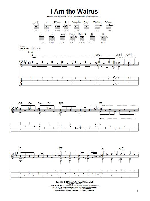 Tablature guitare I Am The Walrus de The Beatles - Tablature Guitare