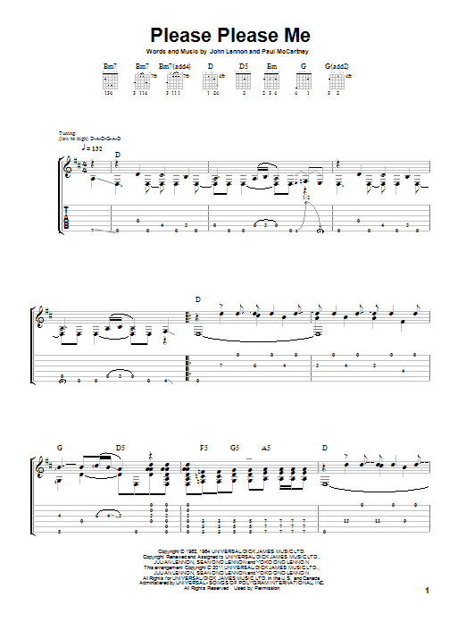 Tablature guitare Please Please Me de The Beatles - Tablature Guitare
