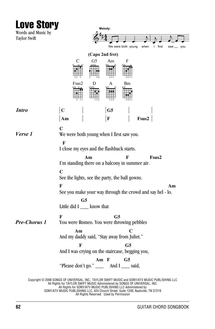 Love Story by Taylor Swift - Guitar Chords/Lyrics - Guitar Instructor
