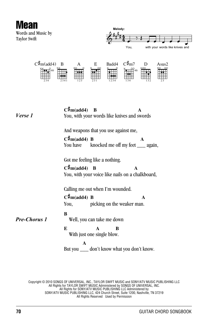 Mean by Taylor Swift - Guitar Chords/Lyrics - Guitar Instructor