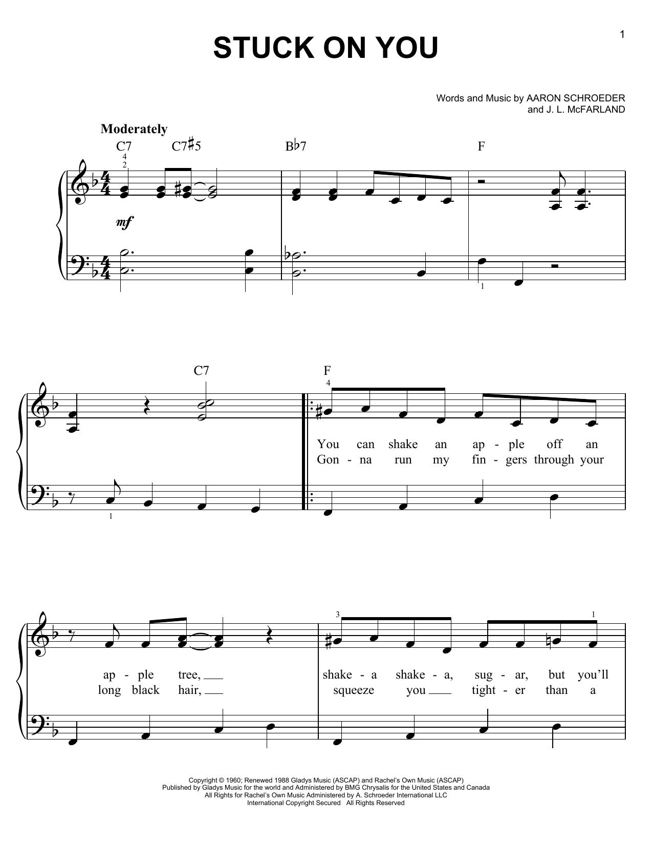 Partition piano Stuck On You de Elvis Presley - Piano Facile