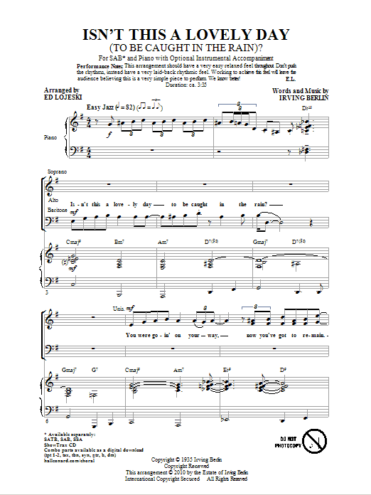 Partition chorale Isn't This A Lovely Day (To Be Caught In The Rain?) de Ed Lojeski - SAB