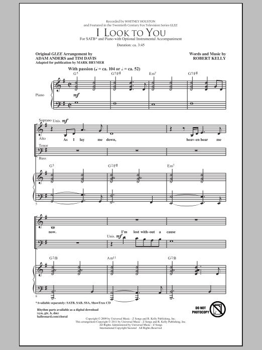 Partition chorale I Look To You de Whitney Houston - SATB