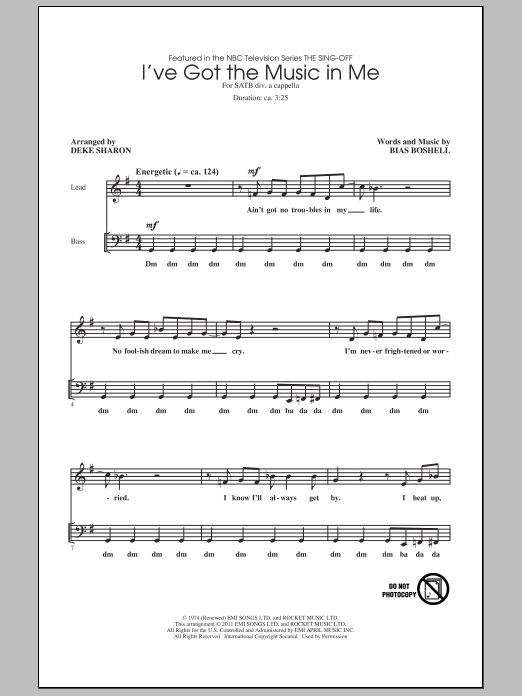 Partition chorale I've Got The Music In Me de Deke Sharon - SATB