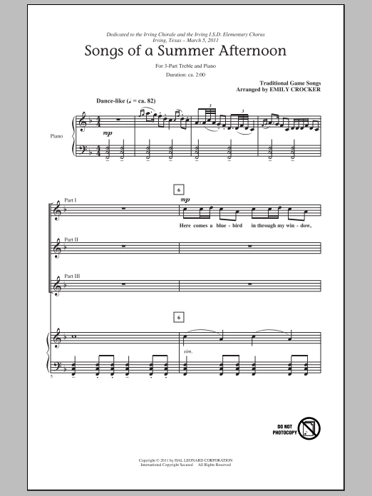Songs Of A Summer Afternoon sheet music for choir and piano (chamber ensemble)