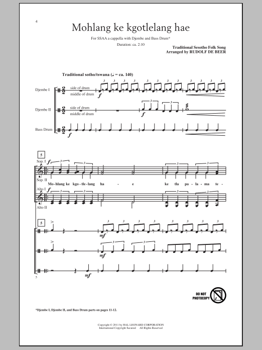 Partition chorale Mohlang Ke Kgotlelang Hae (When I Return Home) de Rudolf de Beer - SSA