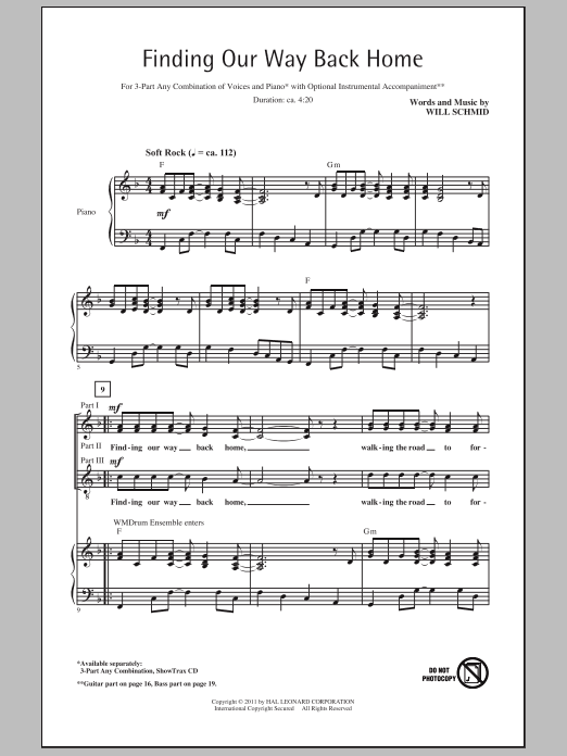 Finding Our Way Back Home sheet music for choir and piano (chamber ensemble) by Will Schmid