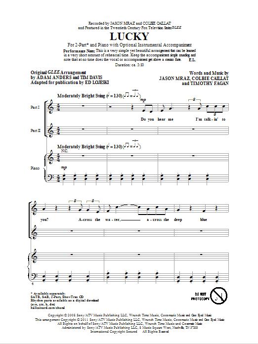 Partition chorale Lucky de Jason Mraz - 2 voix