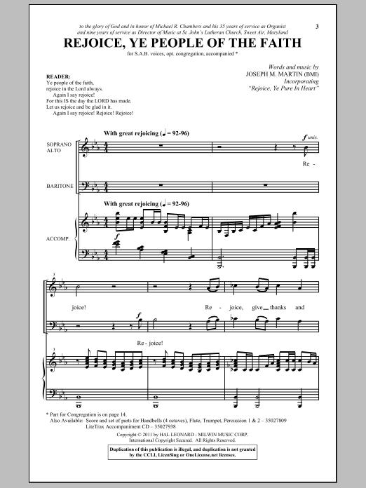Partition chorale Rejoice, Ye People Of The Faith de Joseph M. Martin - SAB