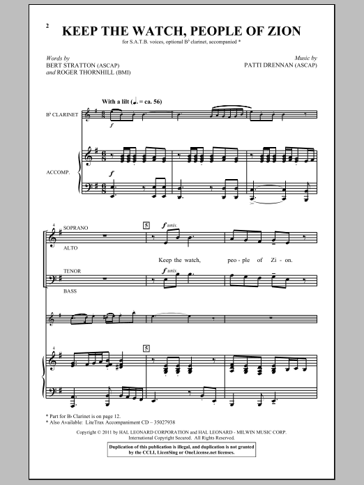 Keep The Watch, People Of Zion sheet music for choir and piano (SATB) by Patti Drennan