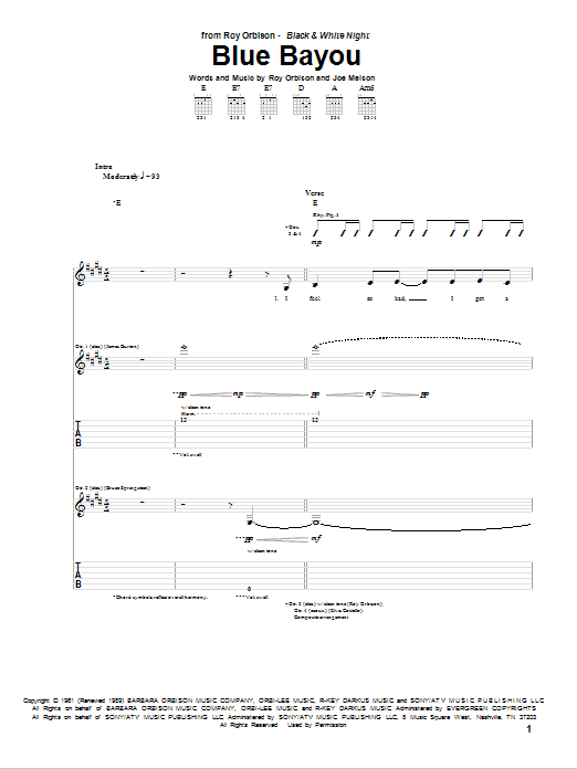 Tablature guitare Blue Bayou de Roy Orbison - Tablature Guitare