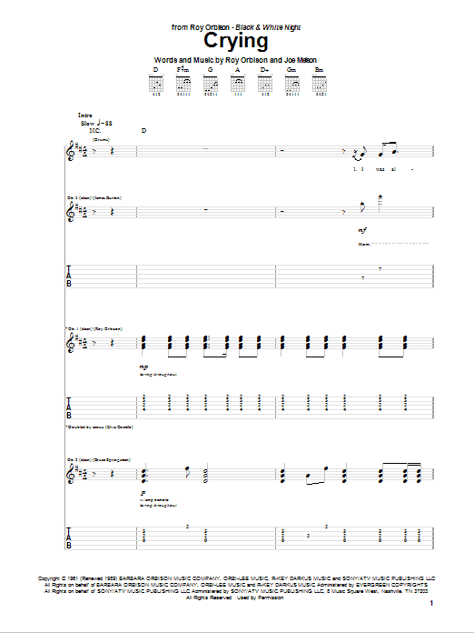 Crying sheet music for guitar solo (tablature) by Joe Melson