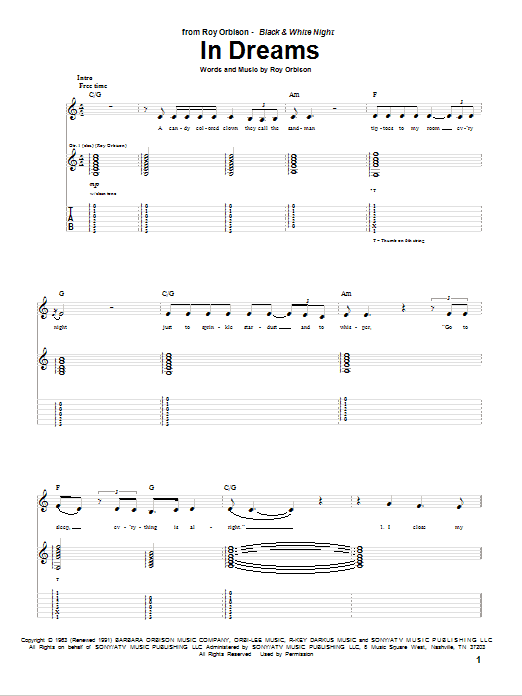 Tablature guitare In Dreams de Roy Orbison - Tablature Guitare