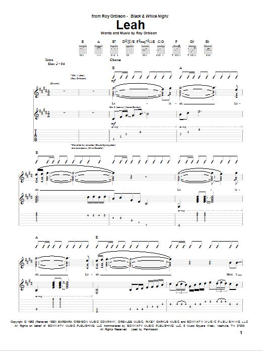 Tablature guitare Leah de Roy Orbison - Tablature Guitare