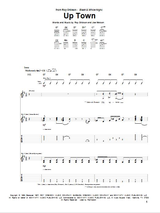 Tablature guitare Up Town de Roy Orbison - Tablature Guitare