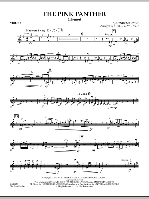 The Pink Panther Theme Violin 1 At Stantons Sheet Music