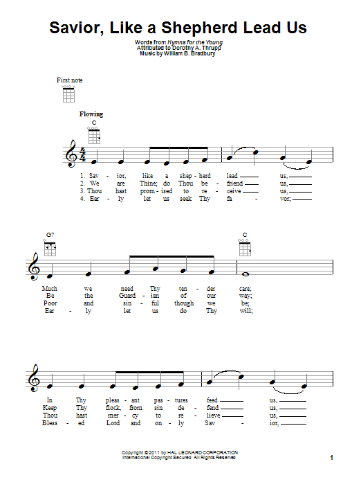 Tablature guitare Savior, Like A Shepherd Lead Us de William B. Bradbury - Ukulele