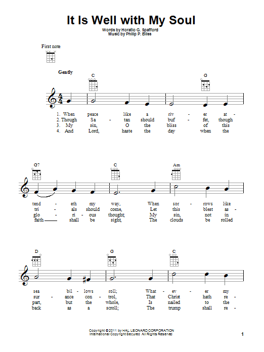 Tablature guitare It Is Well With My Soul de Philip P. Bliss - Ukulele