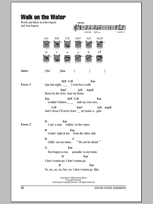 Walk On The Water sheet music for guitar solo (chords, lyrics, melody) by Tom Fogerty