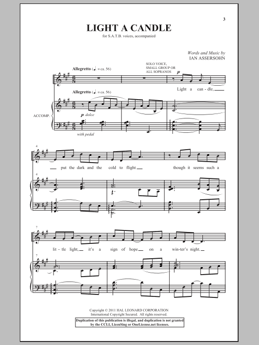 Partition chorale Light A Candle de Ian Assersohn - SATB