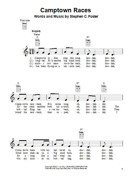 Tablature guitare The Camptown Races de Stephen Foster - Ukulele