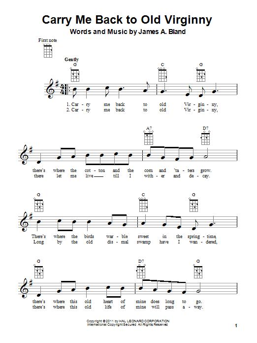 Tablature guitare Carry Me Back To Old Virginny de James A. Bland - Ukulele