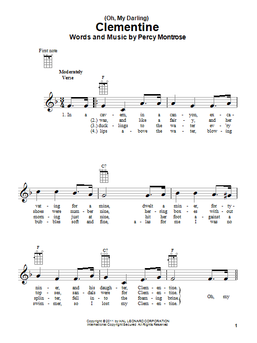 Tablature guitare (Oh, My Darling) Clementine de Percy Montrose - Ukulele