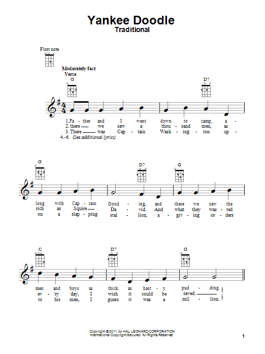 Tablature guitare Yankee Doodle de Traditional - Ukulele