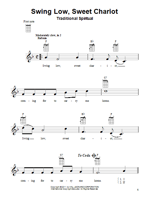 Tablature guitare Swing Low, Sweet Chariot de Traditional Spiritual - Ukulele