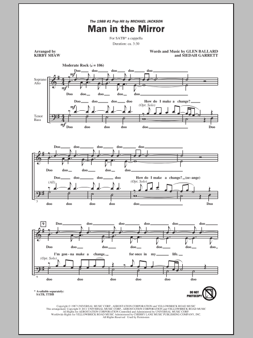 Partition chorale Man In The Mirror de Michael Jackson - SATB