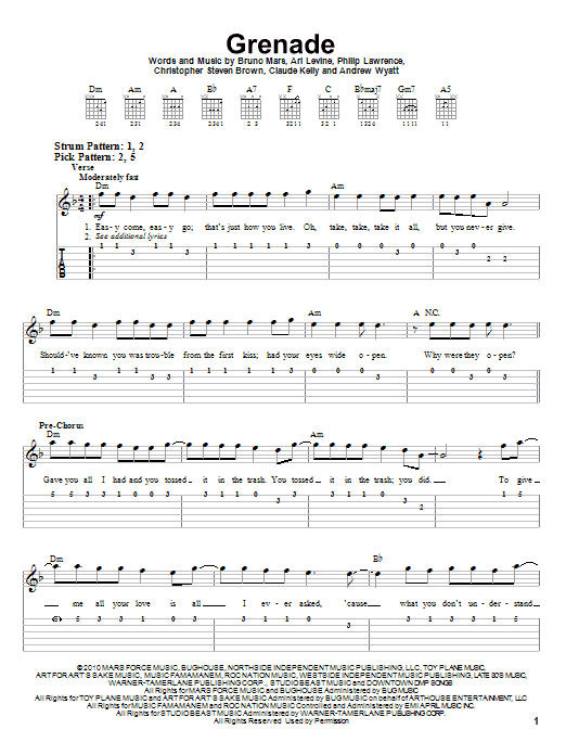 Tablature guitare Grenade de Bruno Mars - Tablature guitare facile
