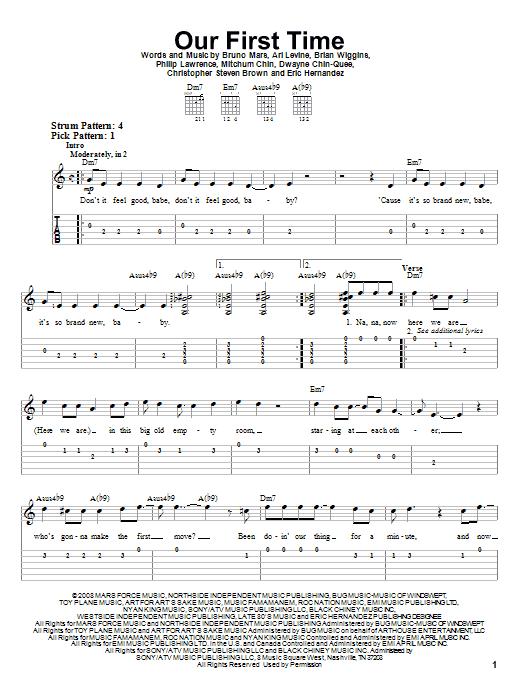Tablature guitare Our First Time de Bruno Mars - Tablature guitare facile