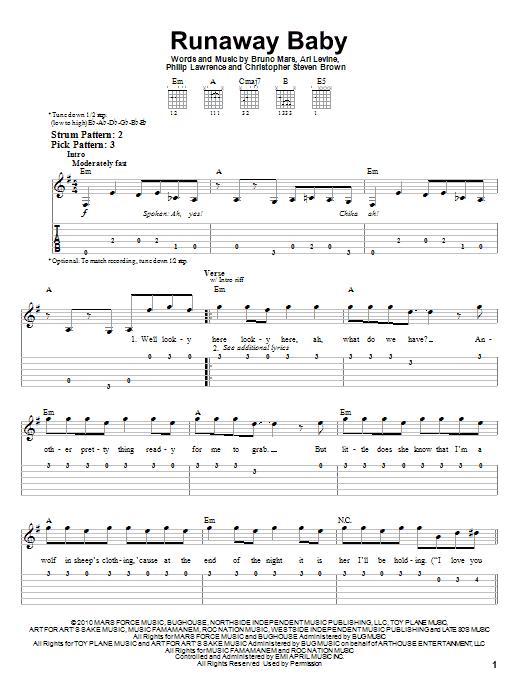 Tablature guitare Runaway Baby de Bruno Mars - Tablature guitare facile