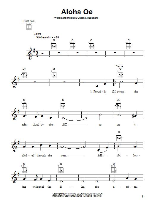 Aloha Oe sheet music by Queen Liliuokalani (Ukulele – 81706)