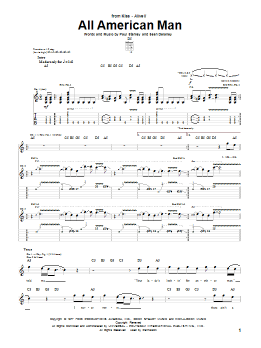 Tablature guitare All American Man de KISS - Tablature Guitare