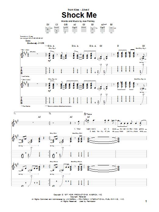 Tablature guitare Shock Me de KISS - Tablature Guitare