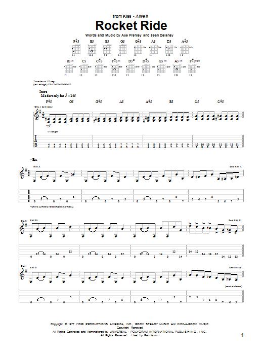 Tablature guitare Rocket Ride de KISS - Tablature Guitare