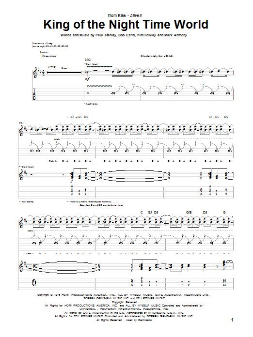 King Of The Night Time World sheet music for guitar solo (tablature) by Paul Stanley