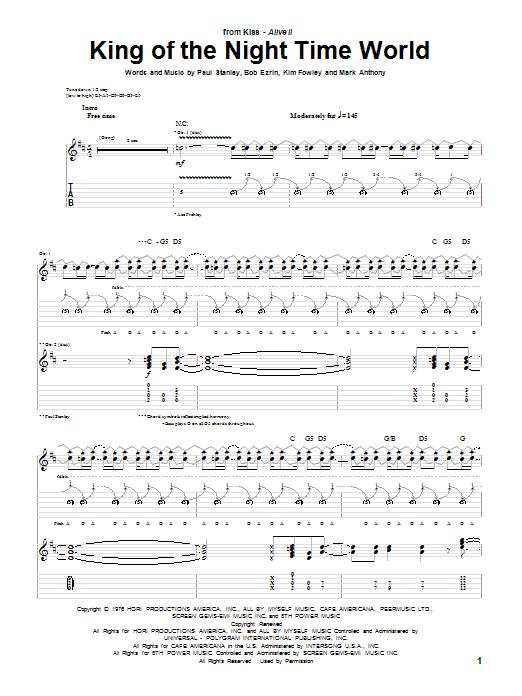 Tablature guitare King Of The Night Time World de KISS - Tablature Guitare