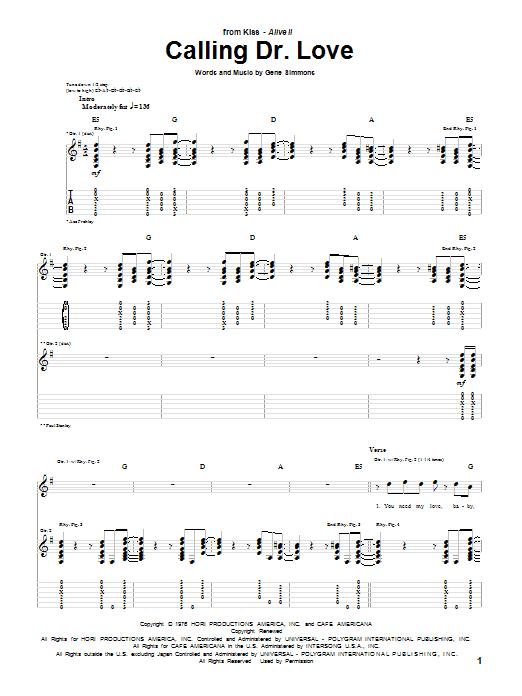 Tablature guitare Calling Dr. Love de KISS - Tablature Guitare