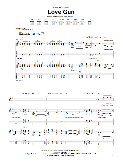 Tablature guitare Love Gun de KISS - Tablature Guitare