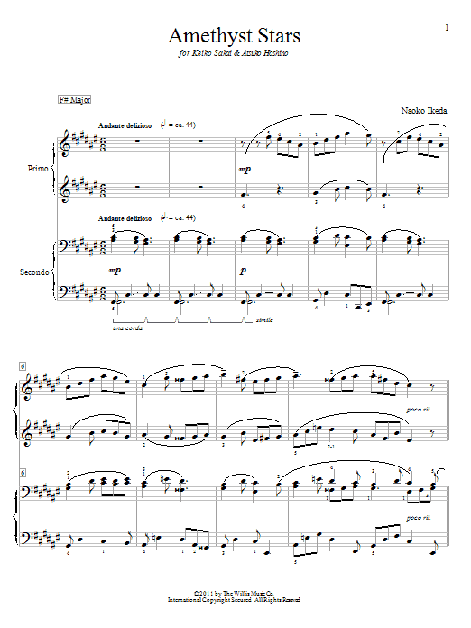Amethyst Stars sheet music for piano four hands (duets) by Naoko Ikeda