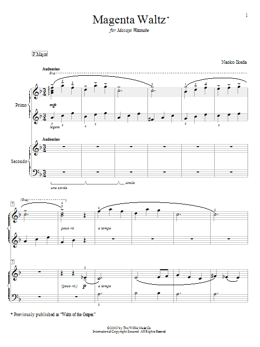Magenta Waltz (Waltz Of The Grapes) sheet music for piano four hands (duets) by Naoko Ikeda