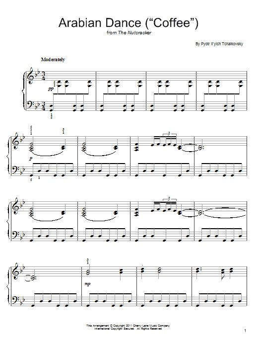 "Partition piano Arabian Dance (""Coffee"") de Pyotr Il'yich Tchaikovsky - Piano Facile"