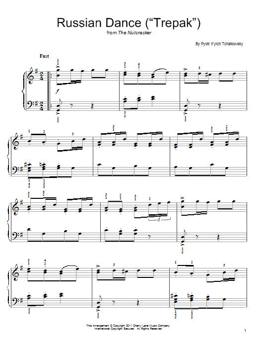 "Partition piano Russian Dance (""Trepak"") de Pyotr Il'yich Tchaikovsky - Piano Facile"