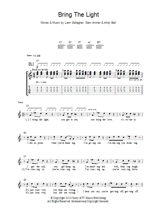 Bring The Light sheet music for guitar solo (tablature) by Liam Gallagher