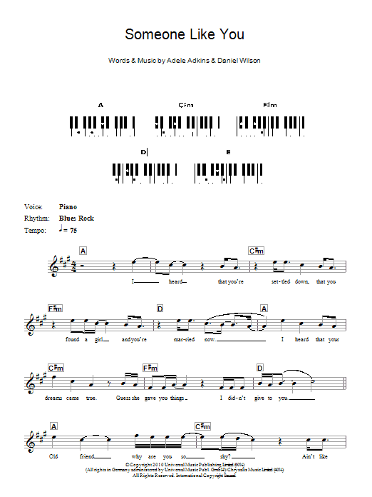 Piano u00bb Piano Chords To Someone Like You - Music Sheets, Tablature, Chords and Lyrics
