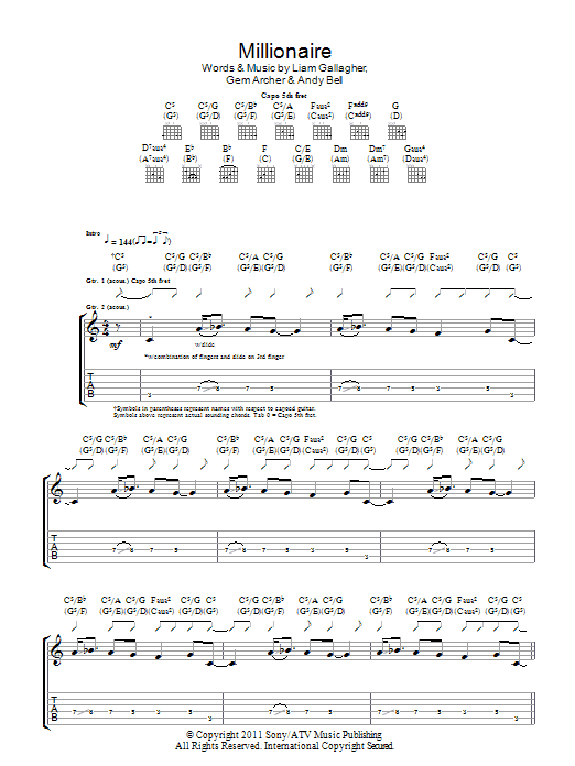 Millionaire sheet music for guitar solo (tablature) by Liam Gallagher